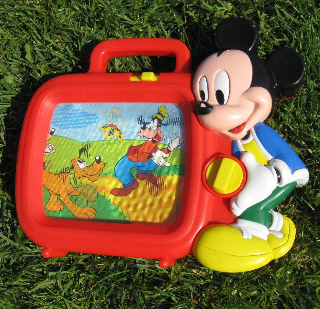 SALE Vintage Disney Mickey Mouse Music Box TV Toy Retro