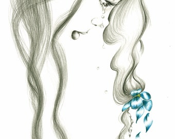 Pencil Drawing Fine Art Giclee Print of my Original Pencil Drawing, Fantasy Fine Art Blue Grey Sad Girl Art  Crying Girl Drawing