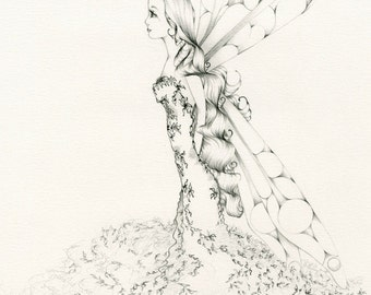 Fairy Pencil Drawing Original Drawing of a Fairy My Illustration Fantasy Fine Art Faery Minimalist Fantasy Art Wall Art Home Decor