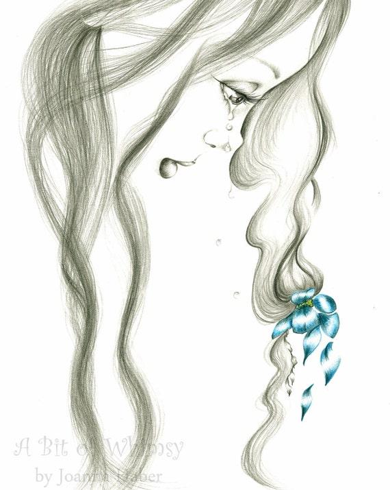 "She's ""Hurting"" an Original Drawing, Fantasy Fine Art"