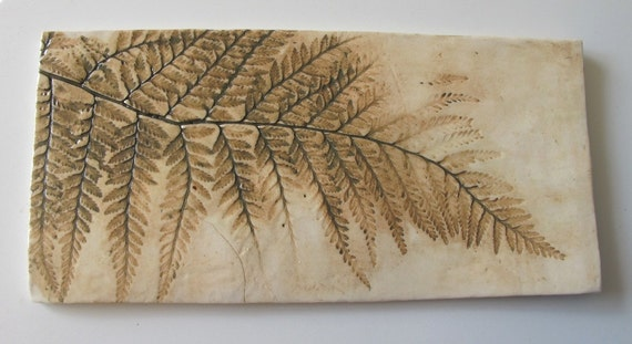 Stoneware ceramic tile with fern design, hand-made in Australia