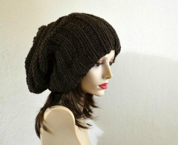 Slouch Beanie Slouchy Hat in Brown  Oversized Chunky Knit Winter Women Wool