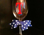 Red White And Blue T Wine Glass
