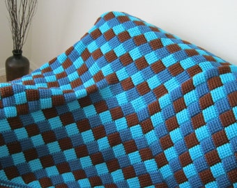 Turqoise Blue Brown Baby Blanket Afghan - MADE TO ORDER - Handmade - Tunisian Crochet