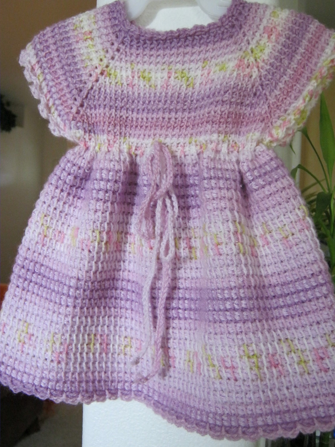 Lilac Purple Crochet Baby Dress Tunisian Crocheted 0 6 Month