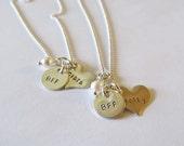 Personalized Necklaces - Best Friends - BFF - Heart Necklace - Friends - Names - Heart Necklace - Sister - Girlfriends - Best Friend
