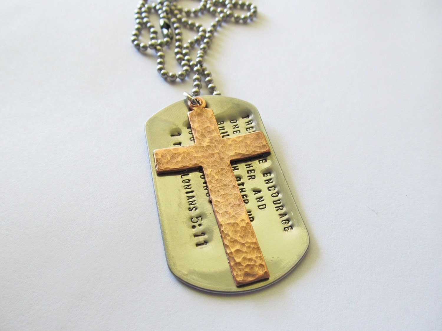 personalized necklace with military dog tag and copper cross. Black Bedroom Furniture Sets. Home Design Ideas