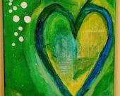 Blue Heart Original Multi-Media Painting