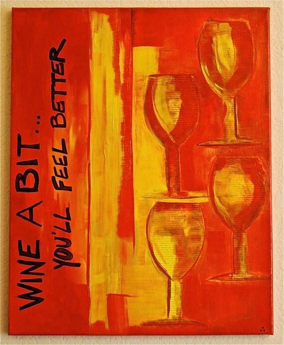SALE...Wine Original Painting On Sale