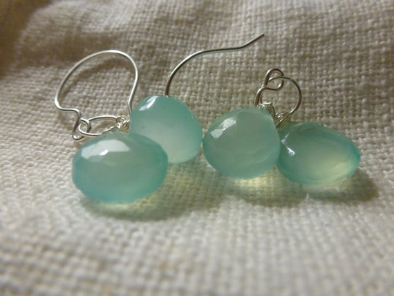 Aqua Chalcedony Earrings on Sterling Silver Wire