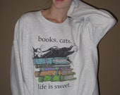 Cats and Books Oversized Grungy Retro Sweater
