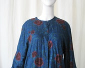 FREE SHIPPING Royal Blue and Red Button Down Floral Print Grunge Baggy Oversized Blouse