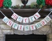 CHRISTMAS Banner Merry Christmas Snowflake / Garland