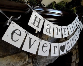 Happily Ever After banner...CUSTOM colors wedding sign