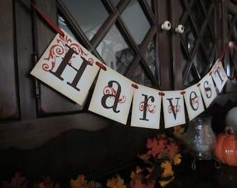 HARVEST thanksgiving Sign / Banner / Garland