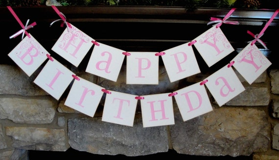 HAPPY BIRTHDAY pink banner sign CUSTOM colors and names