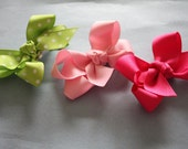 Small Loopy Boutique Bows in Greens and Pinks - Little Girls Hair Bows - Spring Bows- Easter