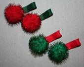 Sparkle Puff Clippies - Pair of Xmas Clips - Sparkly Puff Balls - Spikey Red and Green Puffs - Girls' Christmas Clips - Holiday Clips