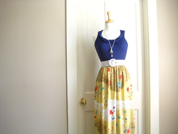 MAXI DRESS / summer / navy blue and tan 4th of July / xsmall