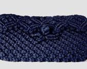 70s Vintage Blue Knit Clutch