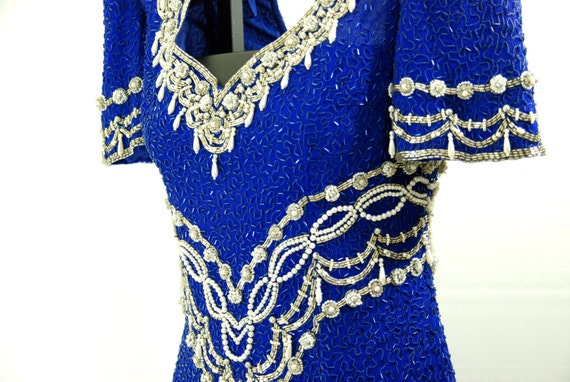Sequins Evening Dress with Pearl Details