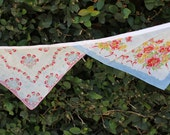 Bunting Made With Vintage Handkerchiefs-Red,Blues, Yellow and Pinks