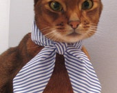 blue and white striped neck scarf