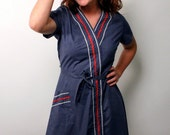 Blue Step N' Go Rockabilly Picnic Dress Med.