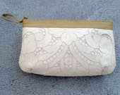 RESERVED for Victoria ---------------Battenburg Lace Clutch Purse