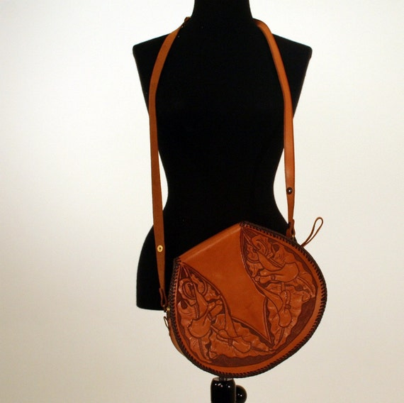 Tooled Tan Leather Calla Lilly Purse