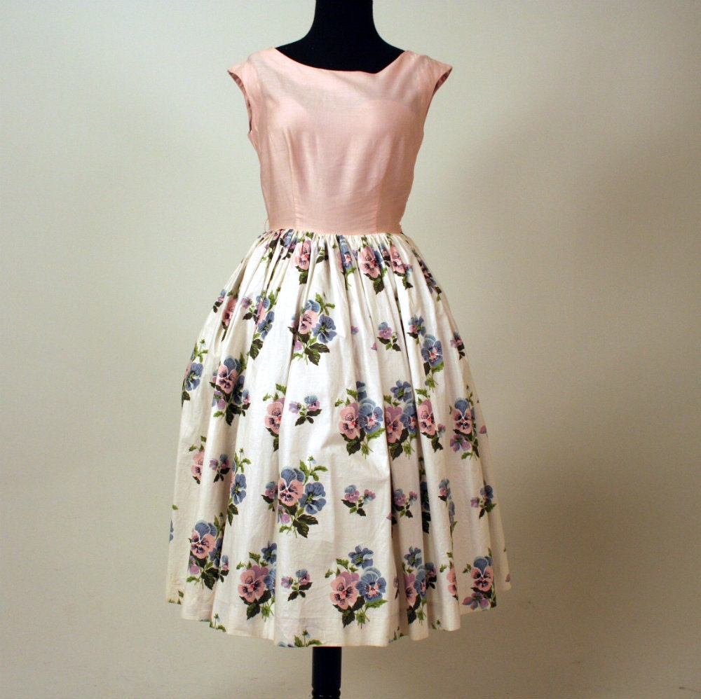 reserved for jessica 1950s garden party dress 1950s pansy