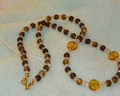 Brown Necklace Amber necklace beaded necklace glass necklace 20 inch necklace light weight necklace multi shades of brown necklace