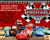 Disney CARS Lightning McQueen All Cars Birthday Party Invitation - Digital File