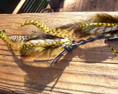 LONG Tribal Feather Roach Clip/Extension with Braided Black Leather-Silver Findings-LAYERS of Long Grizzly Feathers-OOAK