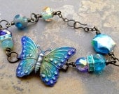 Free Spirit Patina'd Butterfly focal Beaded Bracelet
