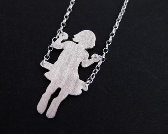 Girl on Swing Necklace - Silver Silhouette of Girl Swinging Pendant - New Mom Gift - Whimsical Childrens Jewelry