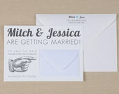 Modern Save The Date Wedding Invitation with Mini Envelope - Vintage Pointing Hand