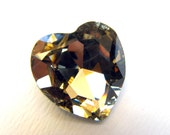 LIGHT SMOKED TOPAZ - Large Heart Of Gold Crystal - 28mm Jewelry Supplies