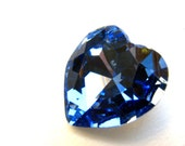 SAPPHIRE - Large Sky Blue Heart Shaped Crystal - 28mm Jewelry Supplies