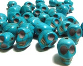 15 Bright Turquoise Day Of The Dead Sugar Skull Beads - Dyed Howlite Tuquoise - 1/2 Inch / 12mm