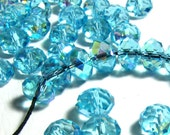 20 Bright Aquamarine Blue Faceted Crystal Rondelle Beads with AB Finish - Sizes Small, Medium, & Large - 4mm - 8mm