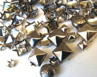Silver and Gunmetal Stud GRAB BAG - 250 Or More Mish Mash of Metal Studs - Pyramid, Nailhead, Heart, Square, Star