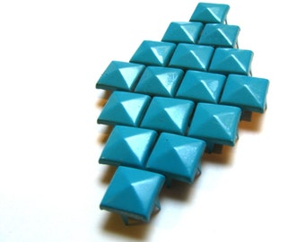 50 Teal Enameled Pyramid Studs - Available In 11mm Large & 8mm Medium