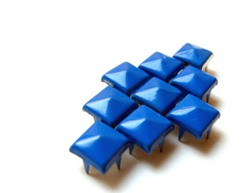 50 Cobalt Blue Enameled Large Pyramid Studs - Available In Large 11mm & Medium 8mm