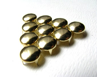 50 Medium Gold Round Nailhead Studs - 8mm