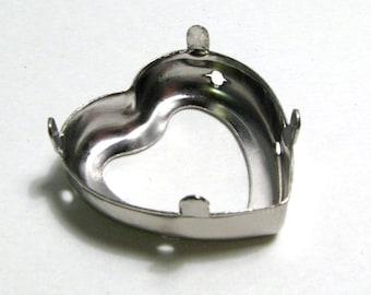 Silver Heart Shaped Bezel Pendant Setting - 28mm x 30mm x 8mm - Fits Large Heart Shaped Swarovski Crystals