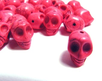 15 Neon Fuschia Pink Day Of The Dead Sugar Skull Beads - Dyed Howlite Tuquoise - 1/2 Inch / 12mm