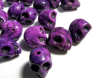 15 Bright Orchid Purple Day Of The Dead Sugar Skull Beads - Dyed Howlite Tuquoise - 1/2 Inch / 12mm