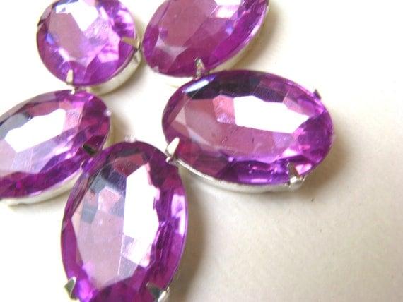 5 Large Oval Cut Amethyst Purple Acrylic Rhinestone Beads-18 x 13mm