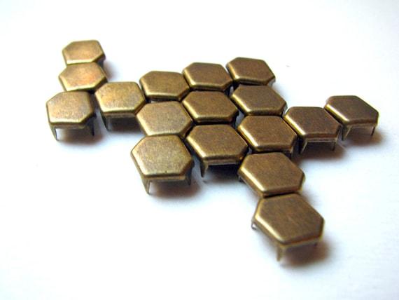 250 Bulk Pack Of Hexagon Bronze Flat Metal Studs - 11mm x 8mm